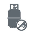 Camping gas container with prohibition sign icon vector image