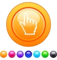 Pixel hand circle button vector image