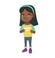 african upset girl with book shedding tears vector image