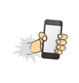 cartoon hand holding phone vector image