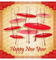 Chinese red umbrellas on abstract background vector image