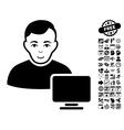 Computer Administrator Flat Icon With Bonus vector image