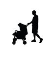 father with baby carriage silhouette vector image