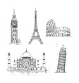 Hand drawn world landmark set vector image