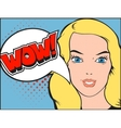 Smiling woman face with open mouth WOW bubble and vector image