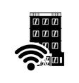wifi hotel building silhouette design vector image