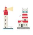 set of cartoon flat lighthouses vector image