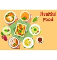 Main dishes with dessert icon for menu design vector image