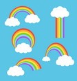 rainbow with clouds set vector image vector image