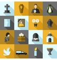 Funeral Icons Flat Set vector image