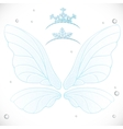 Fairy white wings with tiaras bundled vector image