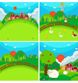 Four scenes of farmland with barn and animals vector image