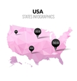 USA America polygonal triangle pink map vector image