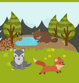 cartoon forest landscape cartoon forest landscape vector image
