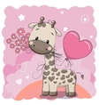 Giraffel with balloon and flowers vector image