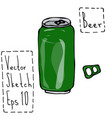 green beer can and key doodle sketch bar vector image
