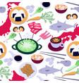 japanese cuisine seamless pattern vector image