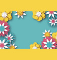 paper cut floral greeting card origami flower vector image
