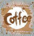 Poster with coffee stain Design template vector image