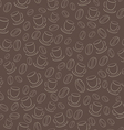 Seamless brown pattern with coffee beans and cups vector image
