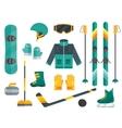 Winter sports equipment set- ski curling skates vector image