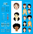woman face constructor set female character vector image