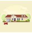 house facade car and trees vector image