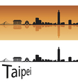 Taipei skyline in orange background vector image vector image