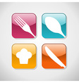 Gourmet glossy icons set background vector image vector image