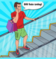 pop art man with shopping bags talking on phone vector image