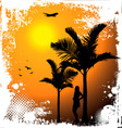 tropical sunset palm trees vector image