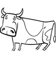 cartoon of farm cow for coloring vector image