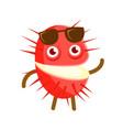 happy smiling rambutan with sunglasses colorful vector image
