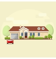 house facade car and trees vector image