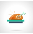 Stylish flat color roasted poultry icon vector image