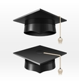 University academic graduation caps with tassel vector image