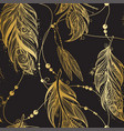 Seamless pattern with golden feathers vector image