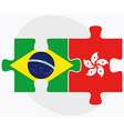 Brazil and Hong Kong SAR China Flags vector image