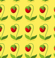 Ripe red strawberries with green leaves seamless vector image
