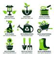 flat icon set for green eco garden vector image