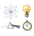 atom and prism light bulb and compass engraved vector image