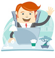 Happy Office man sitting at his working desk vector image