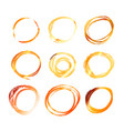 nine golden hand drawn scribble circles isolated vector image