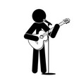 stick man stands plays the guitar sings into a vector image
