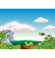 an elephant an insect and a bird vector image