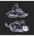 Snowmobiling Silhouette on black background vector image