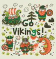 go vikings motivation card cute cartoon vector image