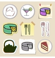 Hand drawn food and drink emblems set Isolated vector image vector image