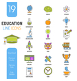 Online Education Thin Lines Color Web Icon Set vector image vector image