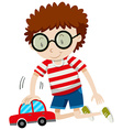 Little boy playing with toy car vector image